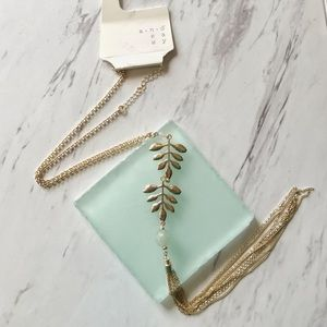 A New Day Leaves Bead and Chain Tassel Necklace